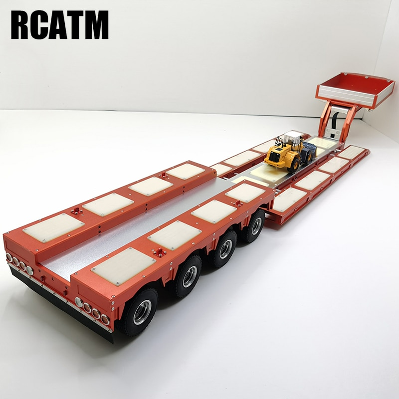 All Metal CNC Aluminum Alloy 4-axis Trailer with Light Group for 1/14 Tamiya RC Truck Car SCANIA R470 R620 ACTROS Lesu Hercules
