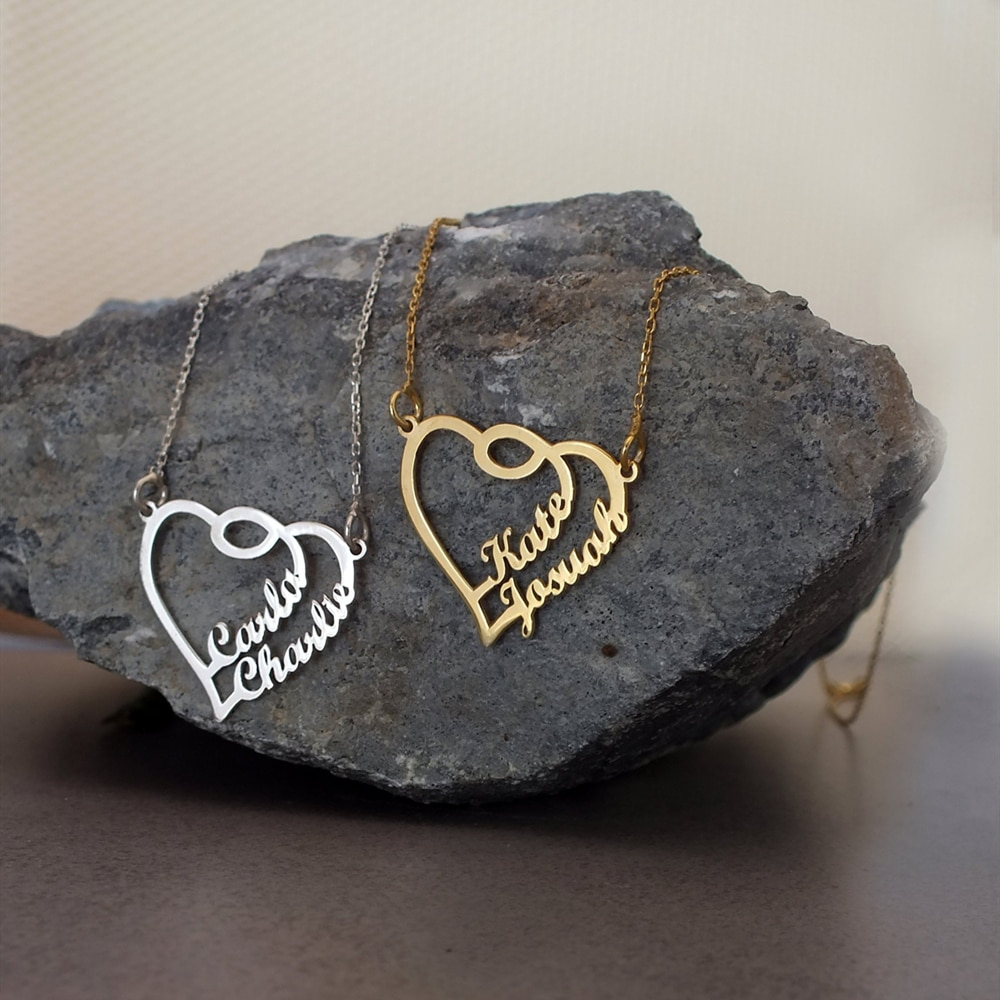 Joyería romántica hecha a mano, regalo de dama de honor, nombre personalizado, collares personalizados para mujeres, placa de identificación, collar de Gargantilla de corazones dorados