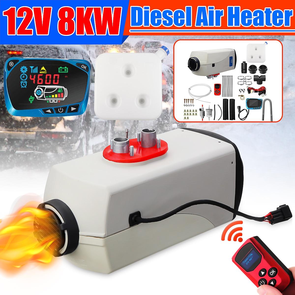8000W Air diesels chauffage 8KW 12V voiture chauffage pour camions camping-cars bateaux Bus + LCD moniteur commutateur (russie effacer linventaire)