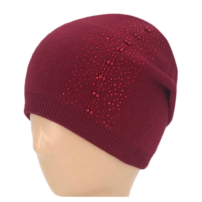 New style soft cashmere womens hat, fashionable pearl non-brimmed warm knitted ladies hat