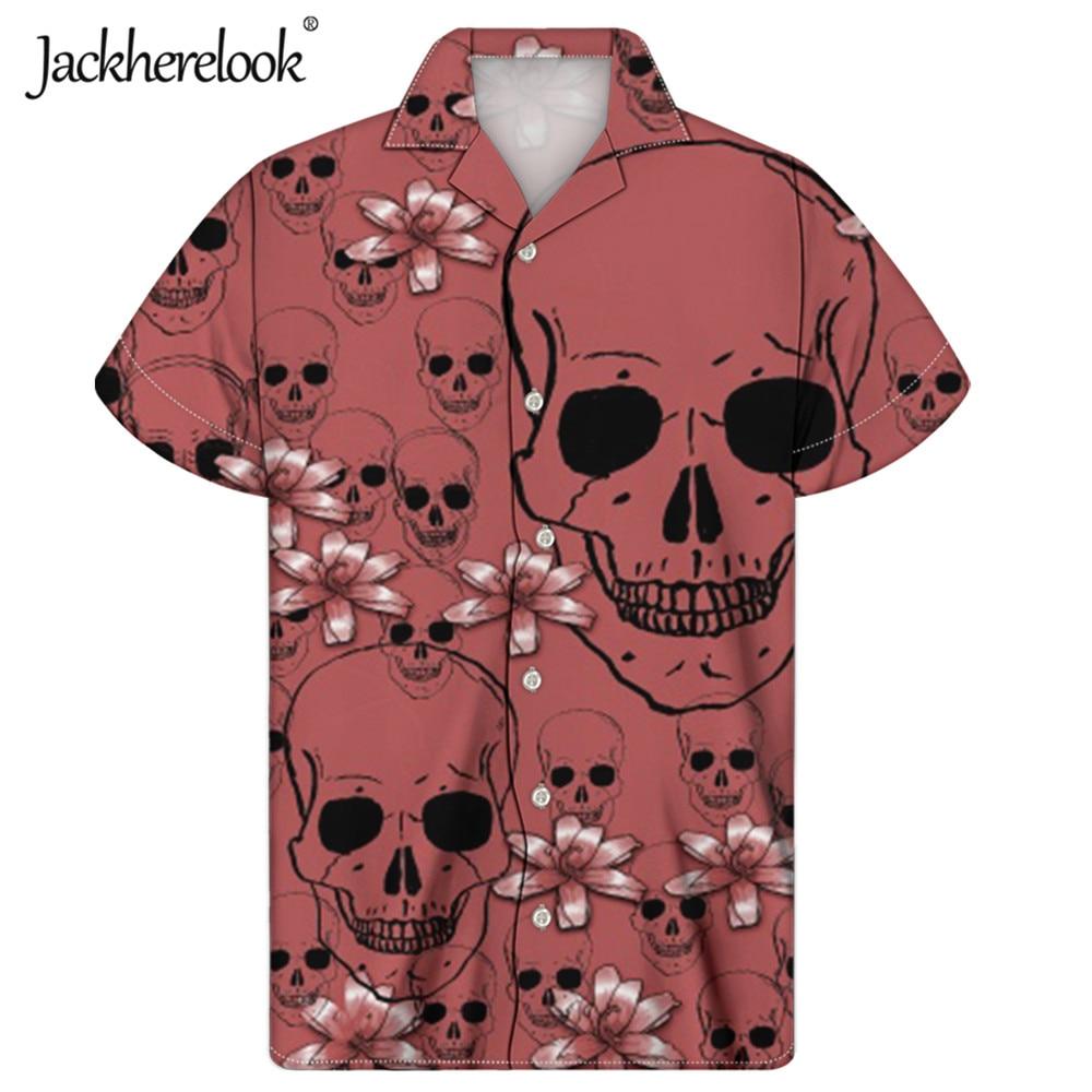 Jackherelook-Camisa hawaiana con estampado de calavera para Hombre, ropa masculina de talla...