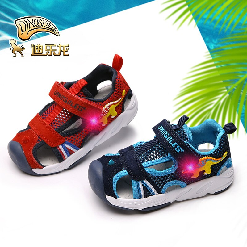 DINOSKULLS-صنادل ديناصور للأطفال ، أحذية صيفية مضيئة ، للشاطئ ، للأولاد والبنات ، بفتحة قماشية ، لعمر 1 سنة ، #23-#26