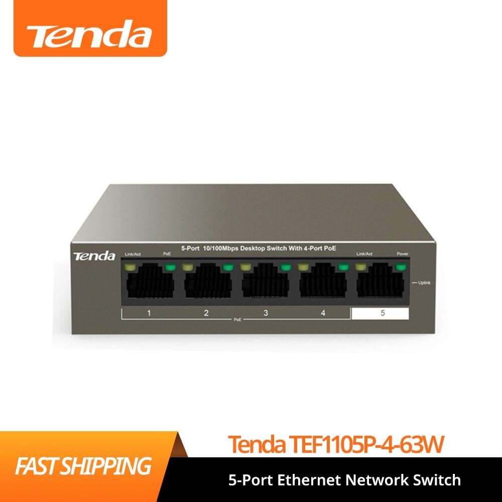 Tenda TEF1105P-4-63W 5 منافذ مفتاح شبكة إيثرنت ، 250 متر لمسافات طويلة مستقرة بو امدادات الطاقة ، التوصيل والتشغيل ، دائم وآمنة