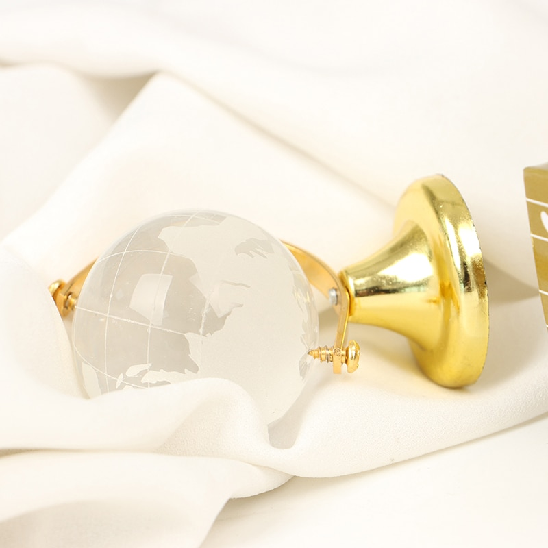 Gold Stand Crystal World Globe Home furnishings Brithday Gift With Decorate Box