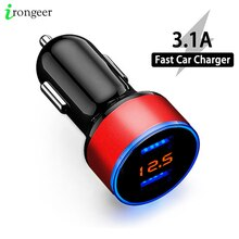 3.1A Car Charger Mobile Phone Fast Charging Adapter in Car with LED Display Quick Charge Dual USB Ca