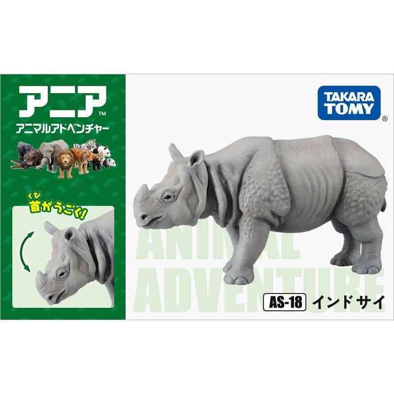 S01 Takara Tomy ANIA Animal Advanture AS-18 Indian Rhinoceros Wild 8cm ABS Figure Kids Educational Toys