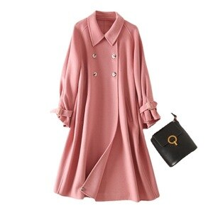Shuchan Skirt  Coat Women  Turn-down Collar  Wool & Blends  Long  Sweet  Woman Winter Coats and Jackets  Trench  Korean Coat