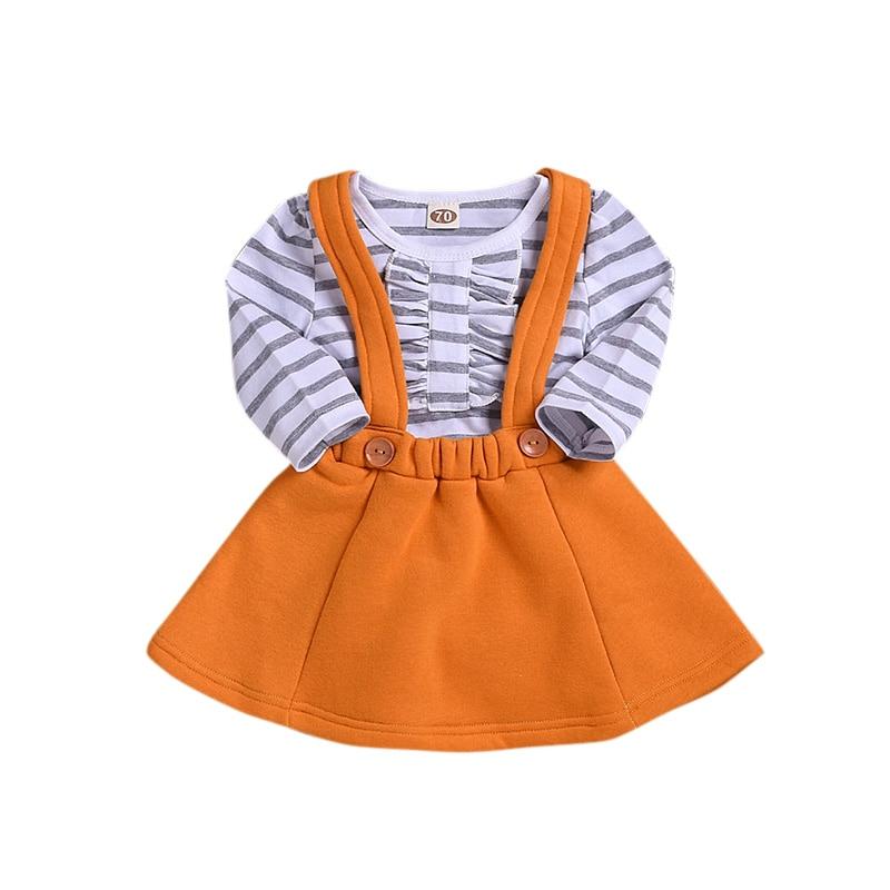 2019 primavera otoño nuevos conjuntos de vestidos de niña lindo cómodo estilo de moda a rayas camisetas + botón de Color sólido vestido 2 piezas conjuntos