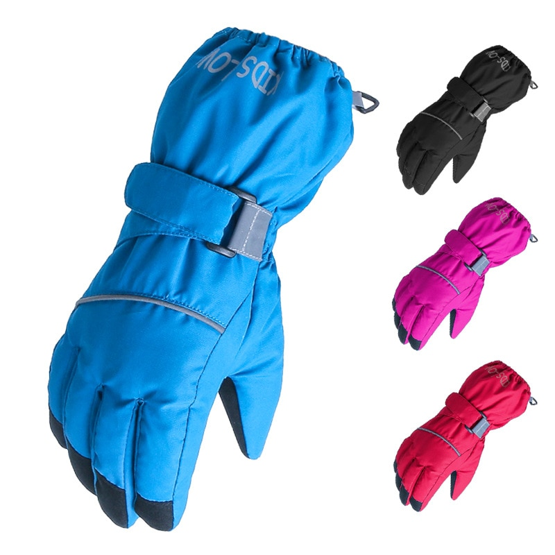 Winter Children's Fingers Warm Gloves Solid Color Windproof Waterproof Wear Resistant Five Fingers Outdoor Ski Gloves latex gloves security protective five fingers wear resistant non slip 1 pair red and yellow for casting metallurgical