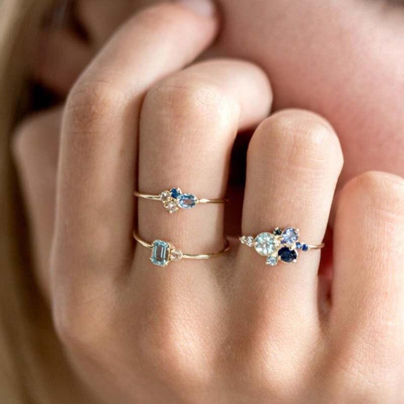 Anillo de alianza para mujer, 3 uds., conjunto de anillo de boda, Color dorado, zirconio azul, anillo de dedo femenino, joyería para fiesta de compromiso, nudillo Midi 222
