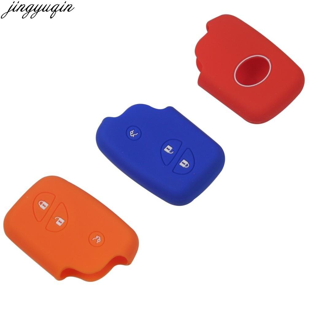 Jingyuqin 3 botones funda de silicona para la llave del coche cubierta...