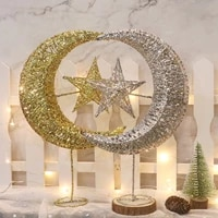 glitter christmas tree top star christmas home decoration led christmas pentagram moon tree top star for new year party gift