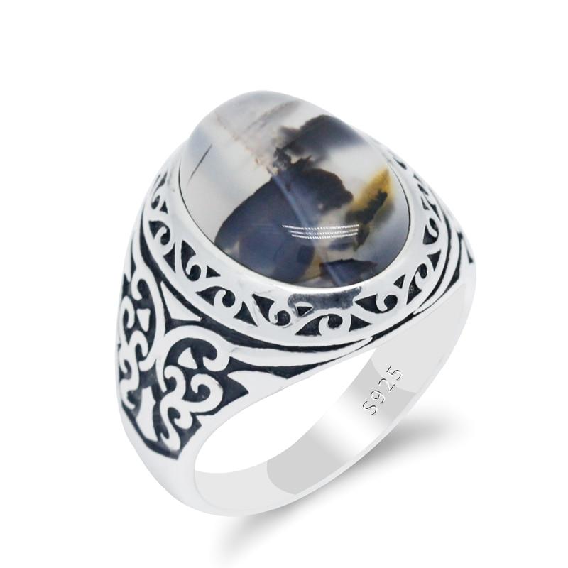 100% 925 prata esterlina anéis de casamento para homens e mulheres oval natural ágata pedra do vintage borboleta punk estilo anel de sinal