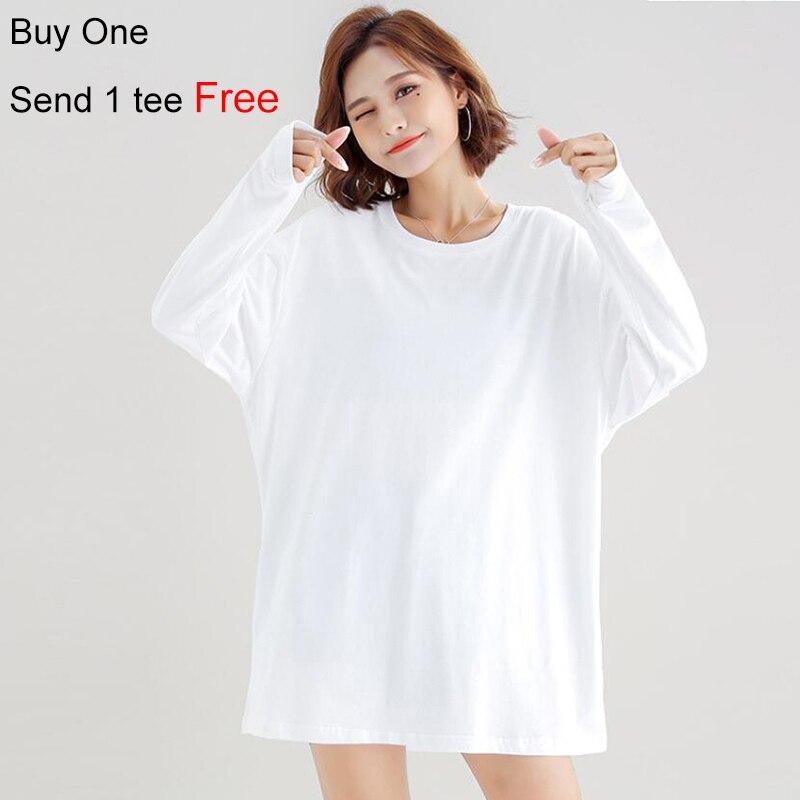 Blanco camisa mujeres Camiseta de manga larga Mujer t camisa mujer básico simple llano en blanco de color sólido 2020 Otoño de moda superior