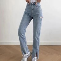 2021 women stretch straight ripped jeans washed slim full length high waist denim pants pocket vintage fashion slit trousers