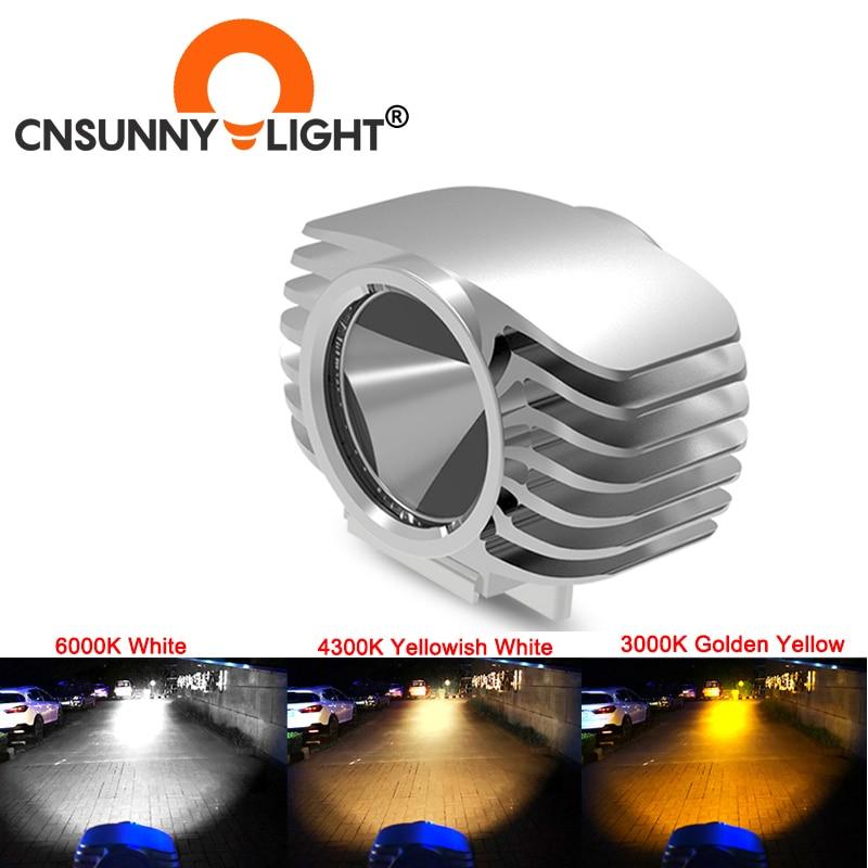 CNSUNNYLIGHT 2 adet motosiklet far yardımcı lamba beyaz sarı LED Motorbike Spotlight aksesuarları Moto DRL Spot kafa lambaları