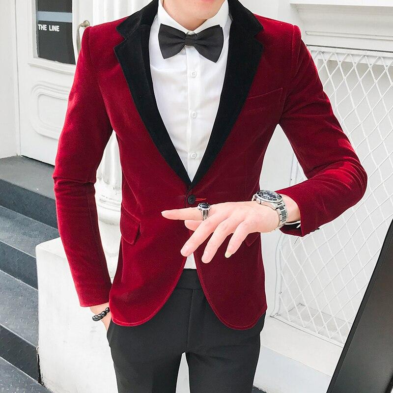 Otoño Invierno terciopelo Blazers Hombre Borgoña trajes Blazers para Hombre Formal cena...