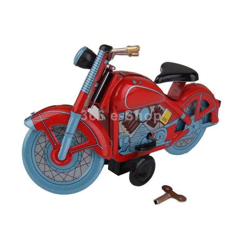 [Divertido] Colección de adultos Retro cuerda de juguete de Metal estaño en movimiento Vintage motocicleta juguete mecánico de cuerda figuras modelo regalo para niños