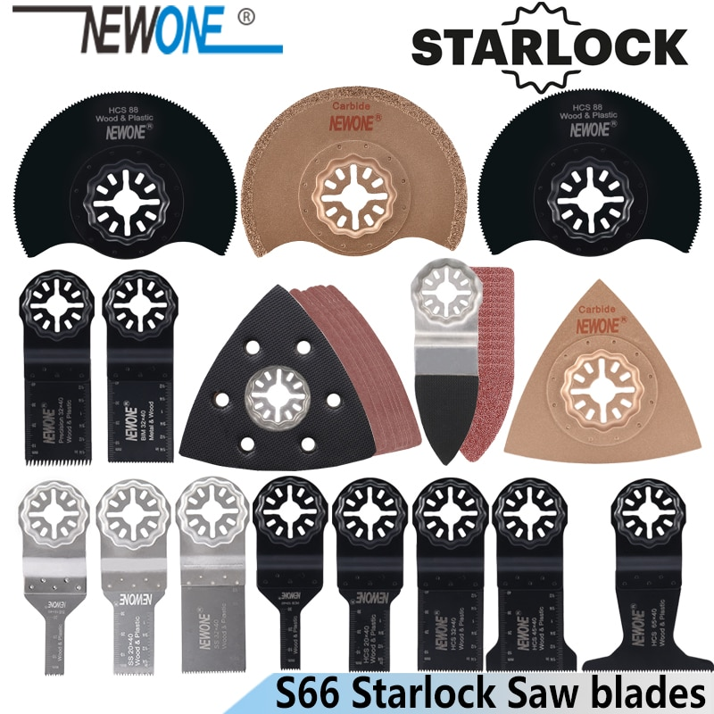 NEWONE S66/100/18/14pcs Starlock blade Oscillating Tool Saw Blades Set fit for Multi tool Cut Wood Plastic Polish Ceramic Tile