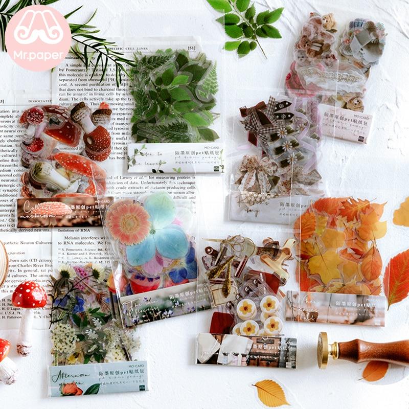 Mr.paper 40Pcs/bag Plant Flower Mushroom Ginkgo Pet Deco Diary Stickers Scrapbooking Planner Decorative Stationery Stickers