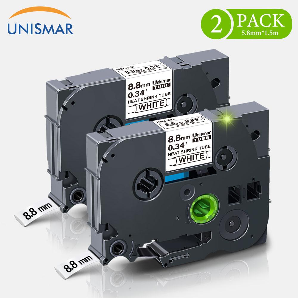 Unismar 2PK para Brother HSe-221 cinta de etiquetas de Tubo termorretráctil 8,8mm * 1,5 m negro sobre blanco para marcar Cables, Cables de fibra, impresora de etiquetas