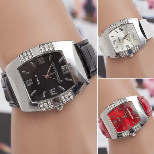 Moda feminina assista strass forma barril caso liga relógio de couro falso banda analógico quartzo relógio de pulso reloj mujer senhoras dres