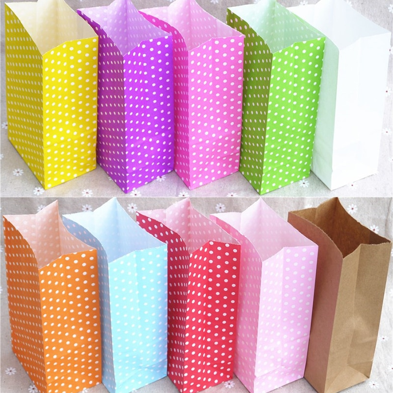 Paper Bag Color Wavelet Point Square Bottom Stand Up Bread Take Away Cake Candy Packing Bag Holiday