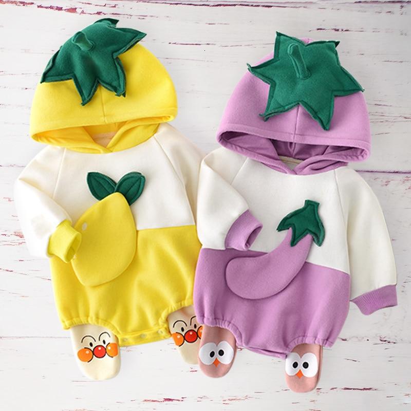 Otoño invierno Bebé traje de algodón recién nacido Ropa para bebé (niño o niña) trajes de manga larga infantil con capucha mamelucos