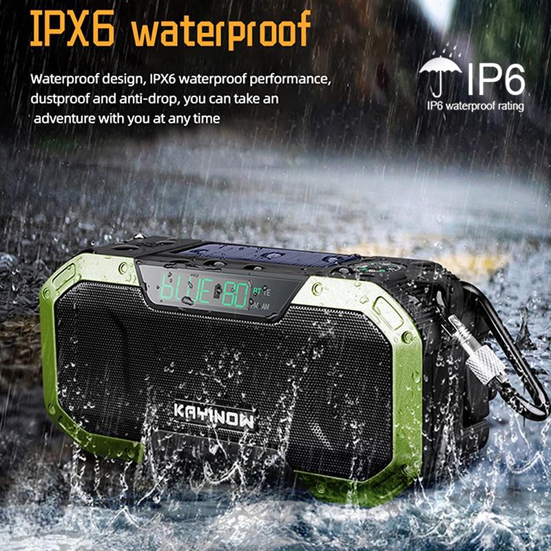 6 Colors Multifunctional Bluetooth Speaker Radio Solar Hand Crank Dynamo Powered IPX6 Weather Radio Use Emergency Speakers