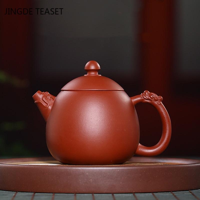 الصينية ييشينغ الشاي وعاء التنين البيض الأرجواني كلاي أقداح الشاي الخام خام الأرجواني الطين اليدوية الجمال غلاية مخصصة هدايا 120 مللي