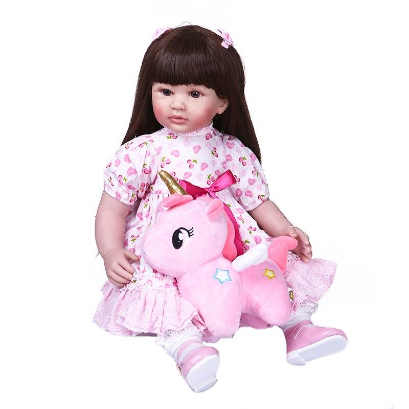 Original NPK 60CM lifelike reborn toddler girl princess doll in pink dress with toy beautiful smile face baby birtyday Gift