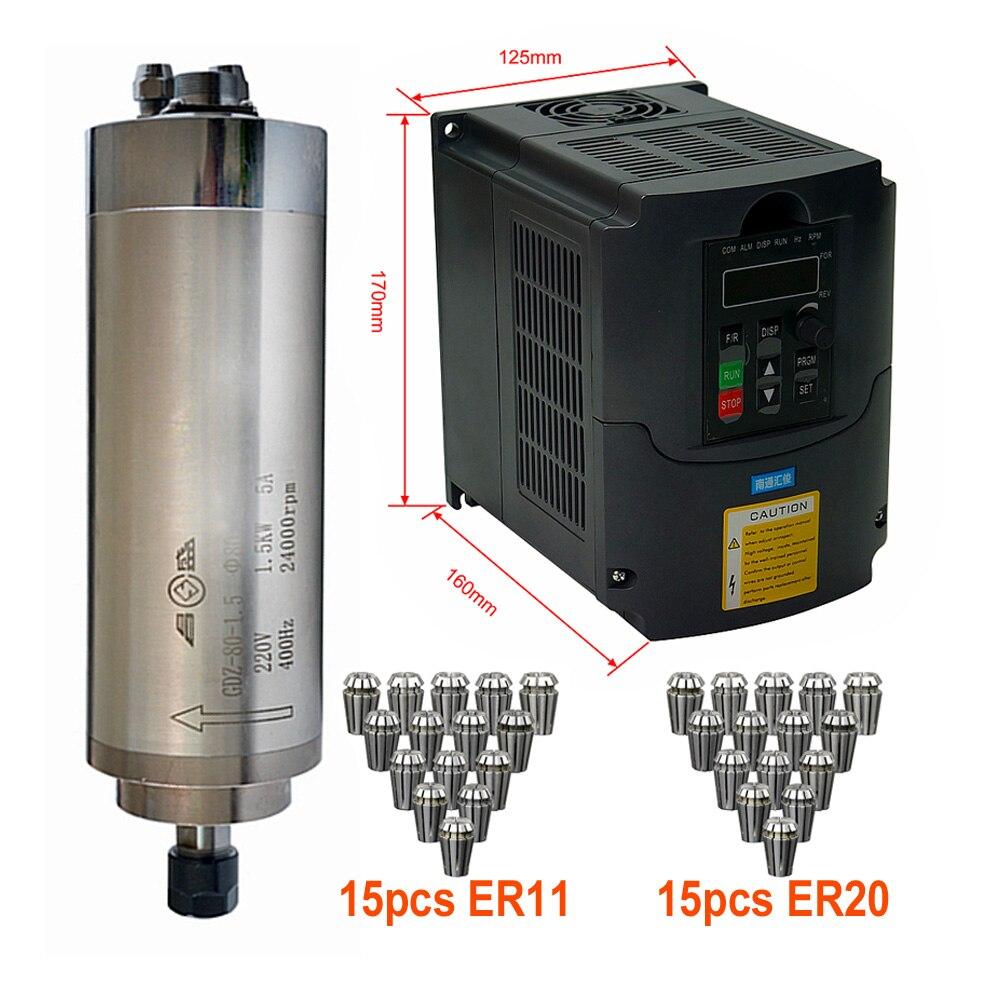Motor de eje de enrutador CNC DIY, 800w, 1,5 kW, 2,2 kW, kit de eje refrigerado por agua + inversor VFD, refrigeración por agua ER11 ER20