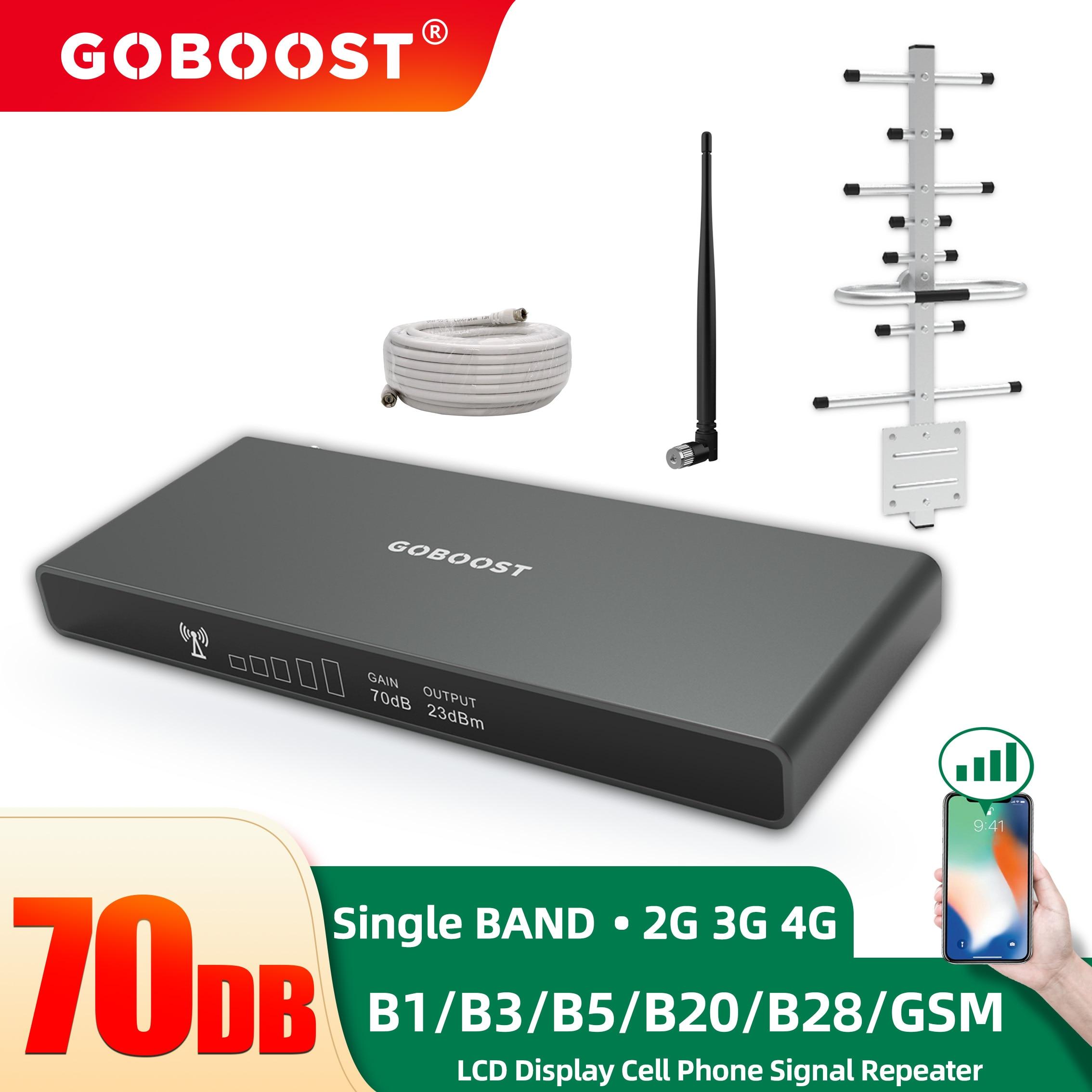 GOBOOST مكرر إشارة 4G الخلوية مكبر للصوت GSM 850 LTE 700 800 1800 Mhz شبكة موبايل الداعم 2G 3G هاتف محمول هوائي مجموعة