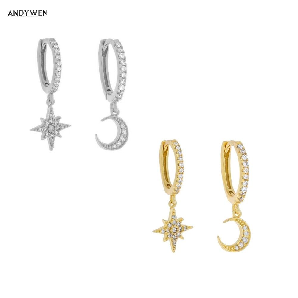 ANDYWEN 925 Sterling Silver Moon Snowflower Drop Earring Ohrringe Piercing Pendiente Crystal Women Luxury Jewelry For Party