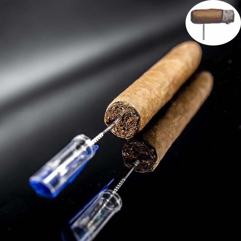 2pcs Cigar Accessories Stainless Steel Cigar Punch Cutter Portable Metal Cigar Puncher Travel Smoking Accessory Cigar Drill