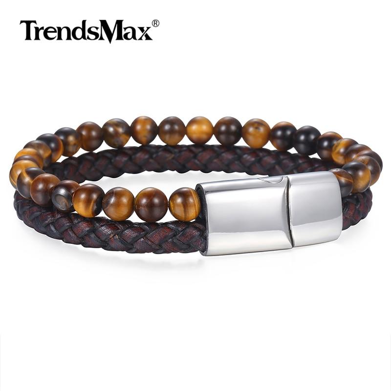 6mm pedra natural genuíno homens grânulos pulseira de couro preto marrom pulseiras tigre olho pedra fecho magnético masculino jóias presente