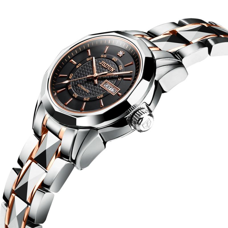 New Fashion Watchs Female Automatic Mechanical Watch Tungsten Steel Mechanical Watch Waterproof Double Calendar Women's Watch enlarge