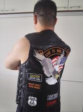 Gilet de moto en cuir de marque véritable pour hommes With14 patchs drapeau aigle Biker gilets de haute qualité en peau de mouton nous S-4XL