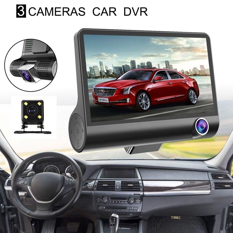 Cámara de salpicadero para coche de 4 pulgadas HD 1080P con tres lentes, cámara de visión nocturna, grabadora de conducción de vídeo, soporte de ventosa