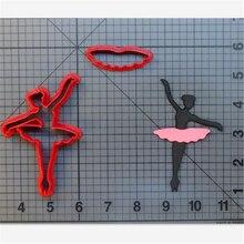 Ballerine coupe-biscuits fournitures de cuisine   Ballerine, ensemble doutils de décoration pour gâteaux glacés, sceau personnalisé imprimé en 3D
