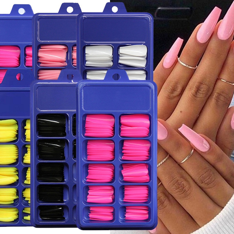 aliexpress.com - 100PCS Candy Color Full Cover False Nail Tips Matte Color Coffin Ballerina Fake Nails DIY Beauty Manicure Nails Extension