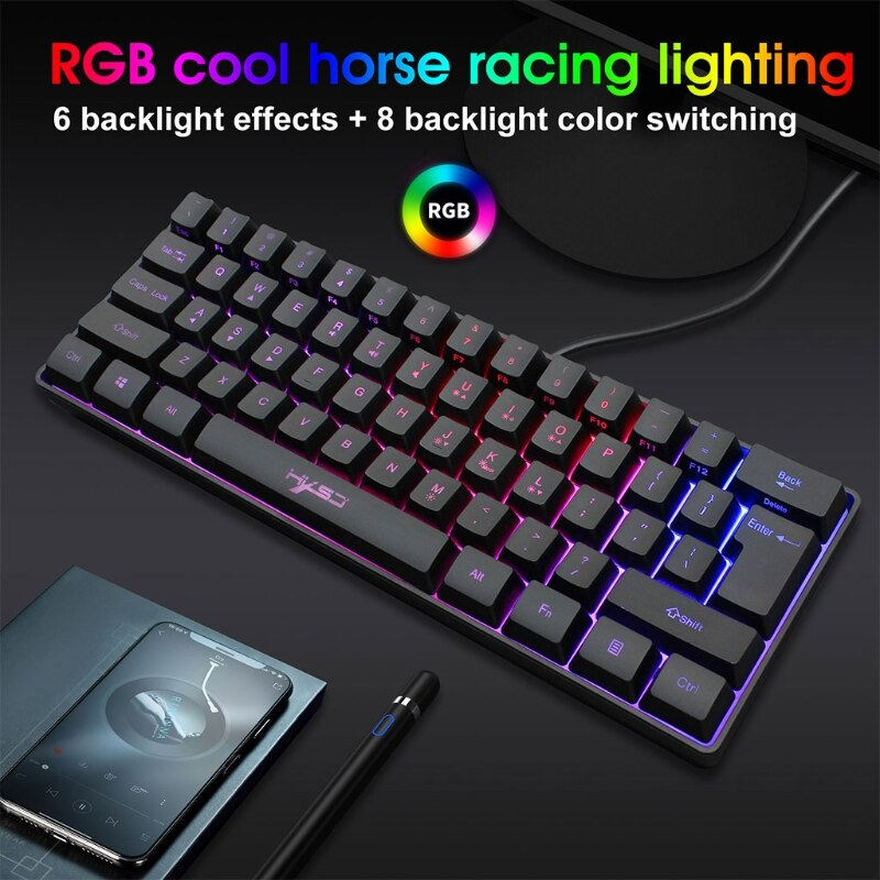 HXSJ V700 USB الخلفية 61 مفاتيح الألعاب RGB لوحة المفاتيح للاعبين لوحة المفاتيح مع مجموعات مفتاح اختصار متعددة ل PUBG