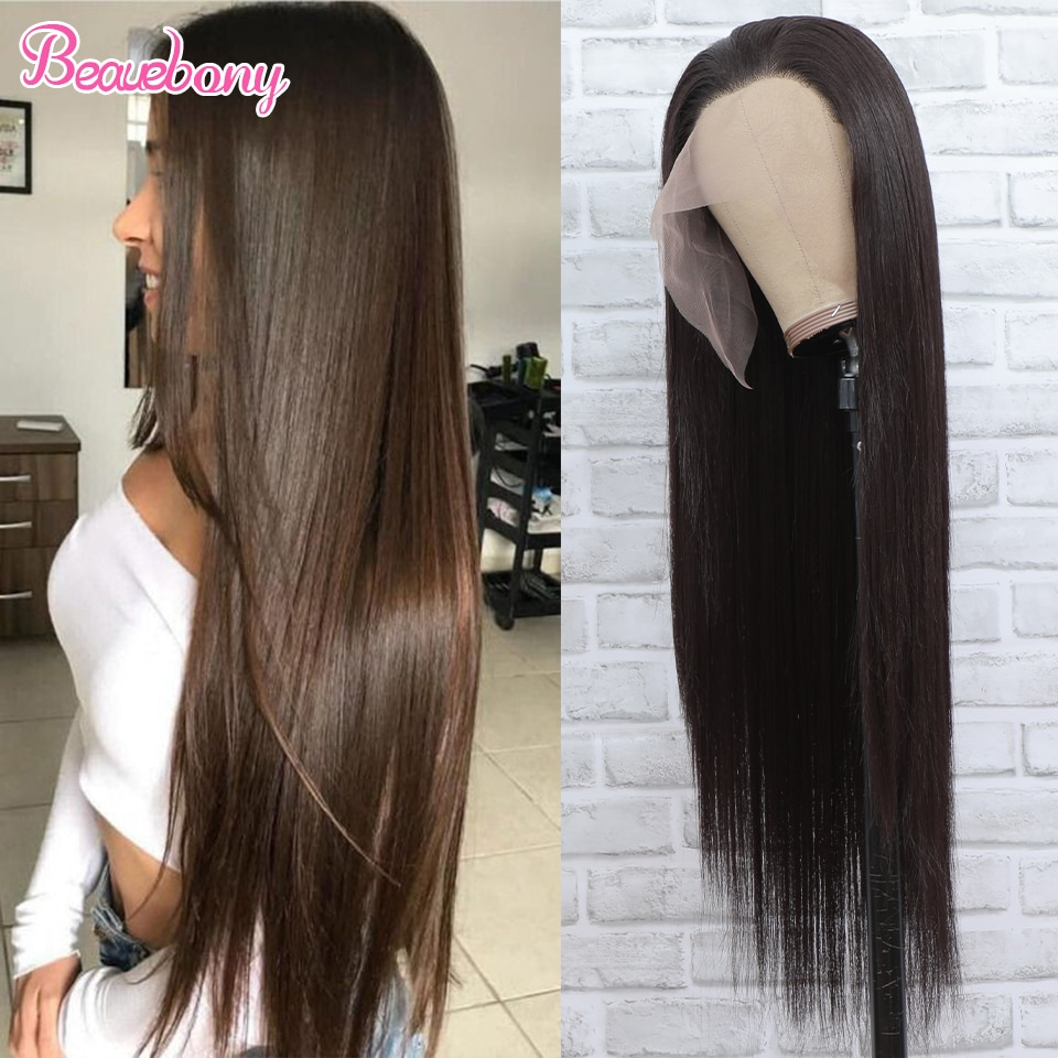 Beauebony Synthetic Hair Glueless Full Lace Wig Light Brown Wig For Black Women 32Inch Long Straight Brown Wig 150 Density Hair