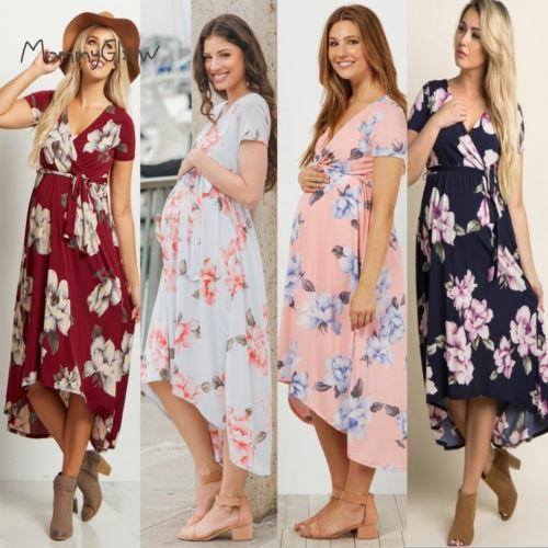 Maxi vestidos florales para mujeres embarazadas, fotografía de vestido de maternidad, ropa para sesión de fotos, embarazo, verano, playa, ligero, 2020 nuevo
