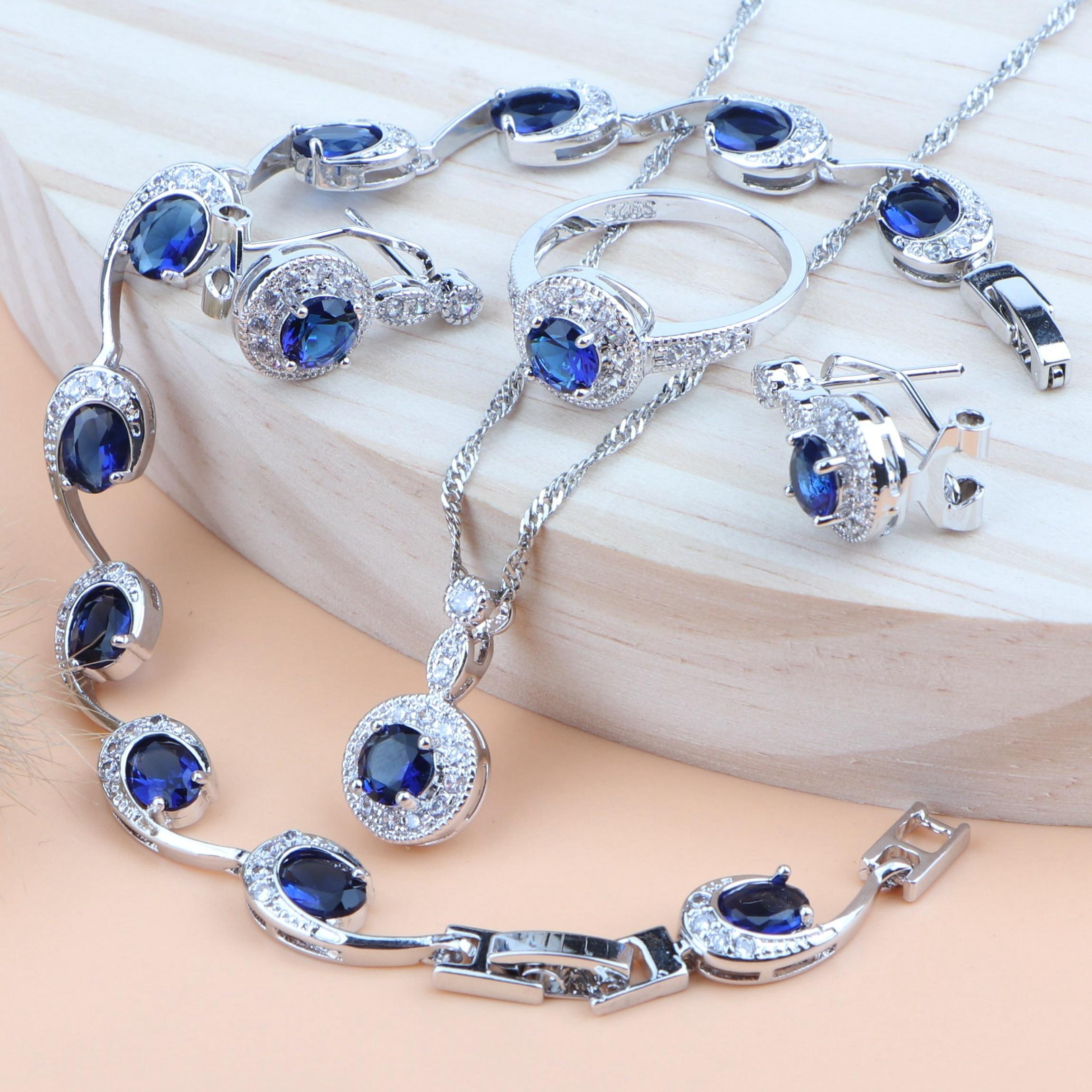 Blue Zirconia Jewelry Sets Silver 925 Wedding Bridal Jewelry For Women Costume Bracelet Rings Earrings Pendant Necklace Gift Box
