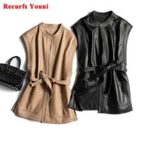 womens vest winter genuine leather waistcoat with belt female korean fashion simple big pocket round neck beigeblack gilet