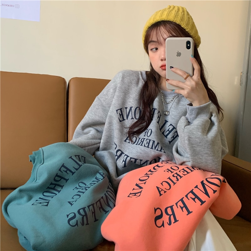 Winter Casual Ladies Pullover With Letter Printing And Velvet Thickening Warm Oversized Hoodie Women худи женские свитера