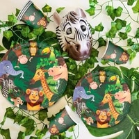 frigg jungle animal supplies tableware happy birthday party decor kids boy jungle theme party safari party decor green forest