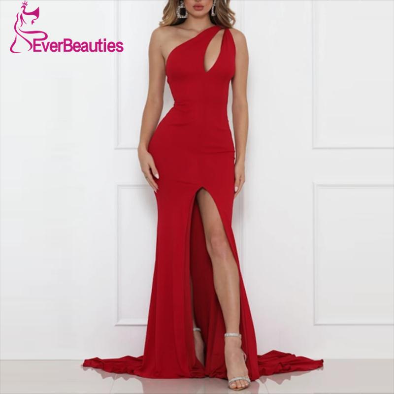 Elegant Evening Dress Long Side Split 2020 Chiffon One-Shoulder Simple Prom Party Vestidos De Festa Sleeveless Vestido De Festa недорого