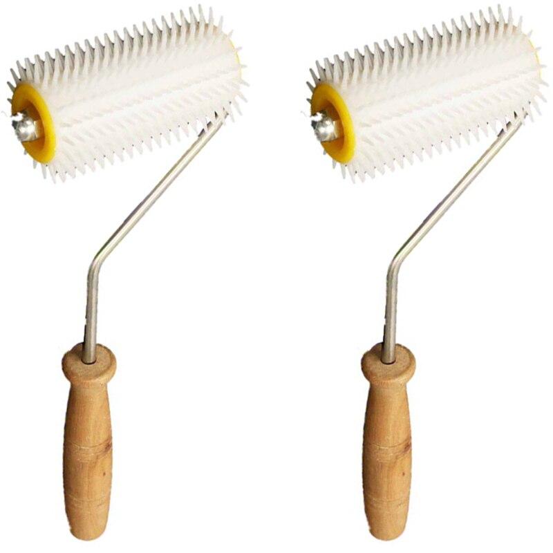 Plastic Acupuncture Roller with Wooden Handle Honey Extractor Tool Honeycomb Beekeeping Equipment